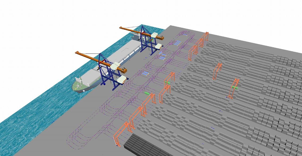 コンテナターミナルの物流シミュレーション
